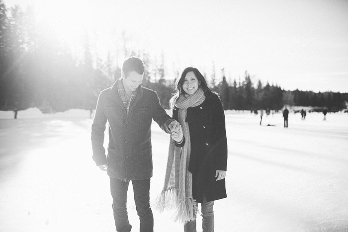 Skating, Calgary Wedding Photographer, Winter Engagement Session, Bowness Park