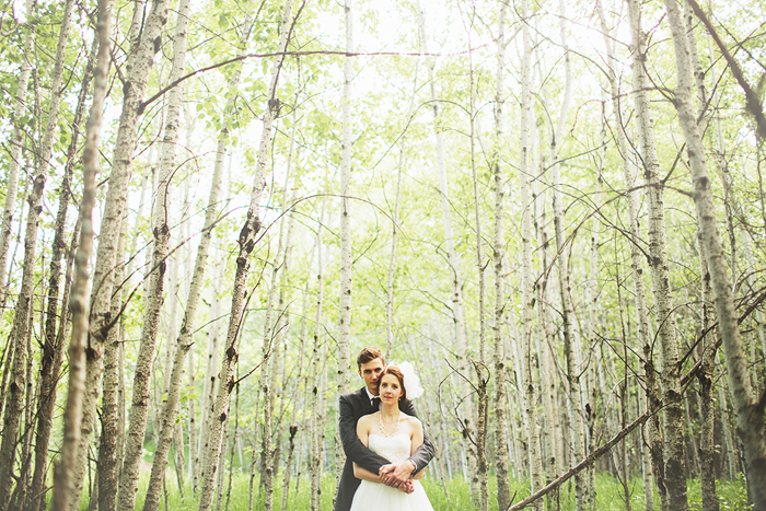 stick trees, skinny trees, wedding portrait in trees, calgary wedding photographer, lethbridge wedding photographer