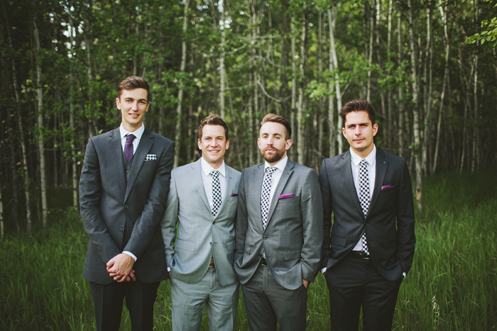 calgary wedding photographer, shawnessy barn wedding, groomsmen in slim grey suits