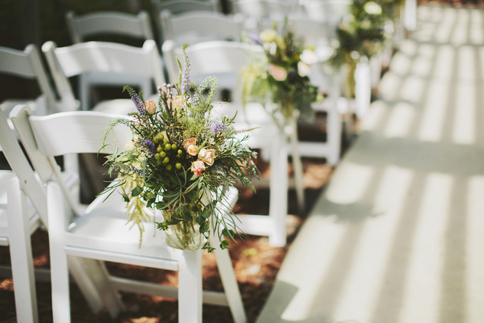 rustic wedding ceremony, white chairs, hanging mason jars, greenhouse ceremony, handmade, diy, saskatoon farm wedding, david guenther