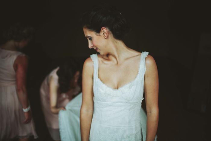 bride getting ready, vintage dress, saskatoon farm wedding, calgary wedding