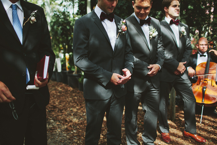 rustic wedding ceremony, handmade wedding, hugo boss suit, groom waiting for bride