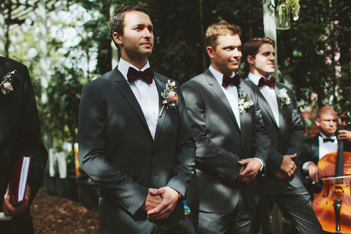 groom seeing bride, bow tie, hugo boss suit, rustic wedding ceremony, david guenther