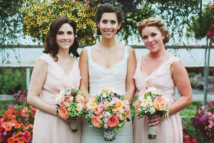 bridesmaids, coral bridesmaid dresses, rustic wedding, coral pink flowers, saskatoon farm wedding, calgary wedding, david guenther