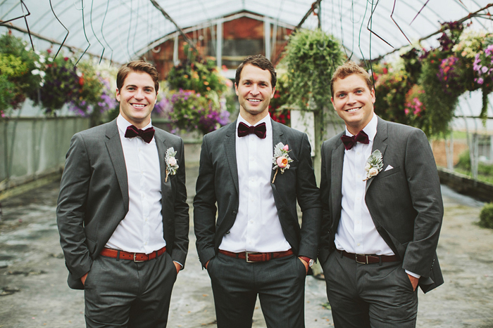 groomsmen with bow ties, hugo boss suits, bow ties, dark grey suits, saskatoon farm calgary, david guenther