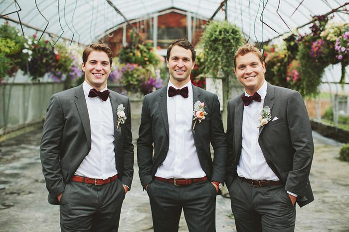 groomsmen with bow ties, hugo boss suits, bow ties, dark grey suits, saskatoon farm calgary, david guenther