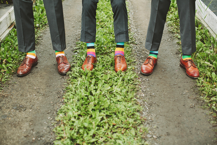 groomsmen with brown shoes, hugo boss suits, striped socks, dark grey suits, saskatoon farm calgary, david guenther