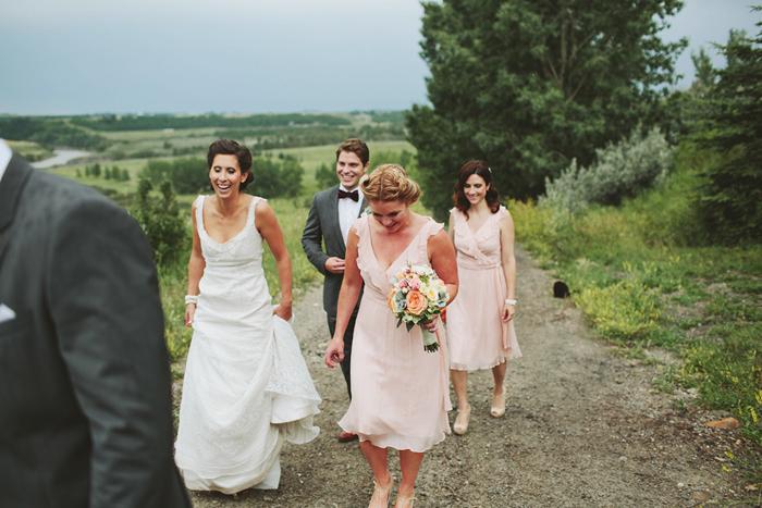 coral pink bridesmaid dresses, saskatoon farm wedding, david guenther, calgary wedding