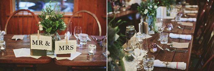 vintage wedding reception, vintage books, mason jars, tea lights, hemp string, saskatoon farm wedding, david guenther