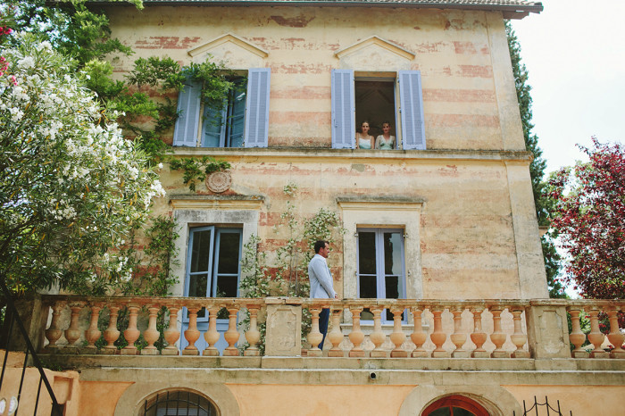 french wedding, provence wedding, first look, vintage bride, groom in blue suit