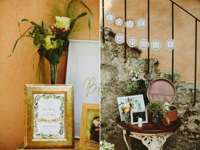 france wedding, flower details, vintage details, gold frames, provence wedding