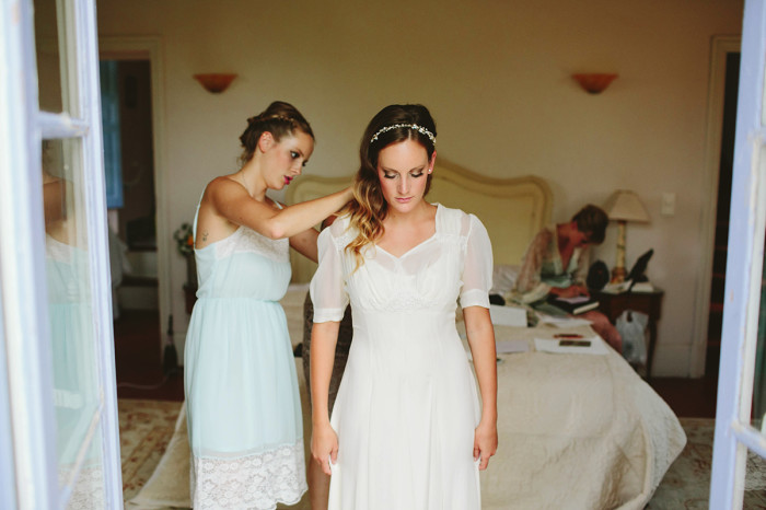 france wedding, provence wedding, bride getting ready, vintage dress, french villa