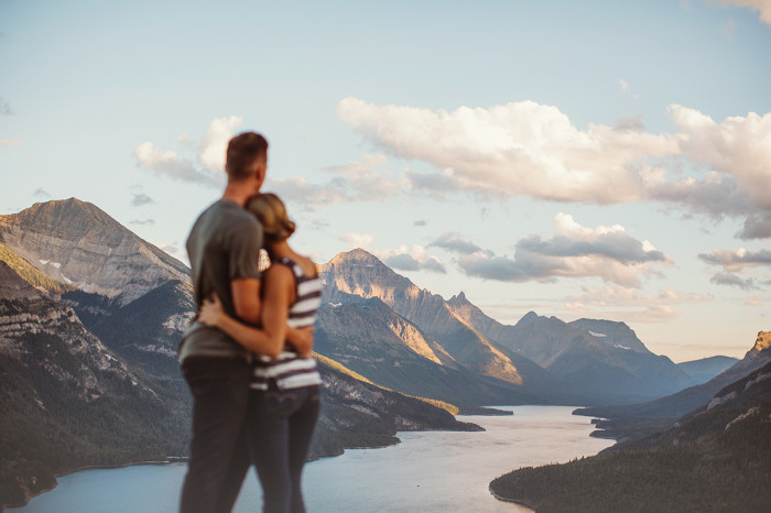 waterton engagement session, waterton wedding photographer, waterton wedding, calgary wedding photographer, mountain engagement session, bears hump, waterton lake