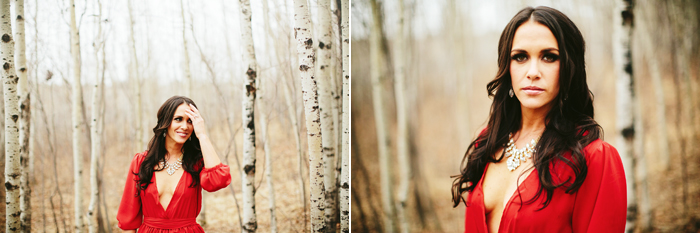 calgary engagement session, fish creek park, calgary wedding photographer, elegant engagement session, red gown