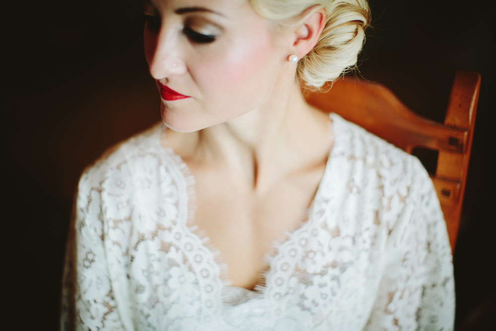 mountain wedding, lake wedding, alberta wedding photographer, 30s hairstyle, vintage dress, bride getting ready