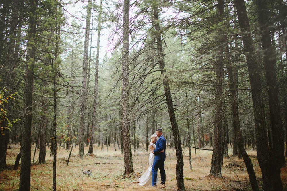 mountain wedding, lake wedding, alberta wedding photographer, forest portraits, bride and groom in trees