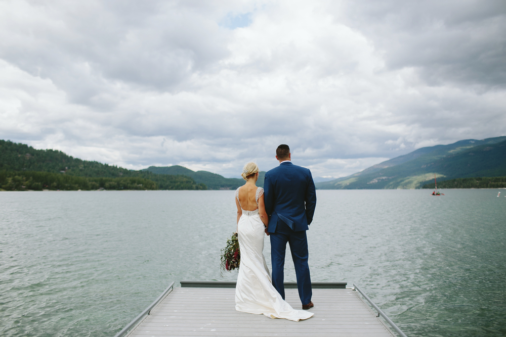 mountain wedding, lake wedding, alberta wedding photographer, lake wedding, blue suit, vintage gown
