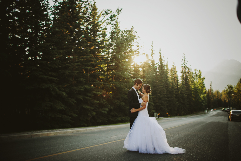 Banff Springs Wedding, Sunset Wedding Portrait