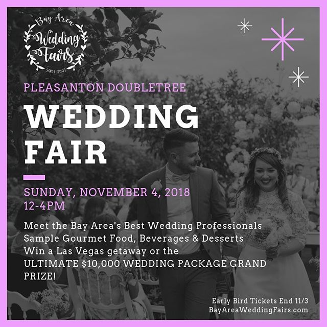 See you at the FINAL WEDDING FAIR OF 2018!  This Sunday November 4, 12-4pm at the Pleasanton DoubleTree.  We'll be there with @BayAreaWeddingFairs!  Visit us at our booth and get some awesome deals on your wedding! Take a photo in our booth & receive an amazing offer! Heck if you book us on the spot, we'll include free upgrades AND offer you an even bigger deal!  SAVE BIG TODAY and buy Early Bird Tickets! Tickets: http://bit.ly/BAWFRegister #BayAreaWeddingFairs #Pleasanton #WeddingFair #BayArea #photobooths #photoboothdeal #thisaintnogroupon #sixandtenphotobooth #weddingplanning