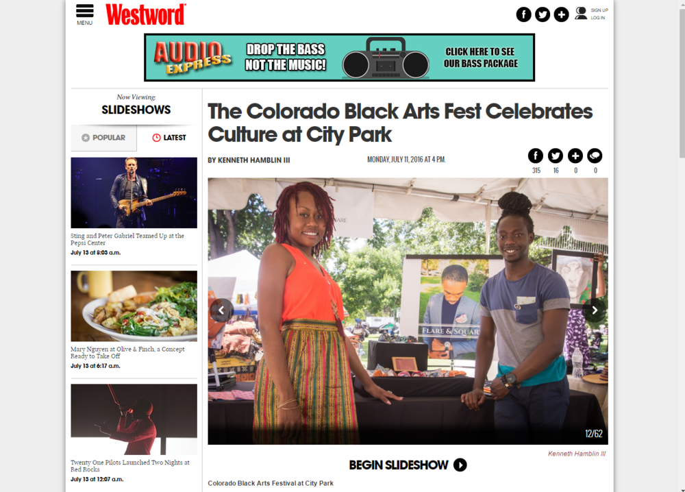 Flare and Square featured in Denver's Westword magazine for taking part in the  30th Annual Colorado Black Arts Festival at City Park !  T  hroughout the weekend;  Flare and Square showcased pocket square collections alongside the work of other local artists, selling  out the newly released spring/summer line of pocket squares!  Flare and Square founders, Mawukle Yebuah and Fatima Rashad, engaged with  customers and community members by  talking about their mission,  offering fashion advice, and  t eaching how to fold pocket squares.  To see the full story   CLICK HERE