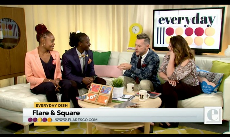 Flare and Square's first TV feature on the Everyday Show with Chris Parente and Katie Jay! Flare and Square founders, Mawukle Yebuah and Fatima Rashad, discussing their local busines and showcasing the spring/summer line pocket square collection! Chris Parente contiuned his support of Flare and Square by styling several pocket squares on the show following the orignal taping. To see the full video    C     LICK HERE