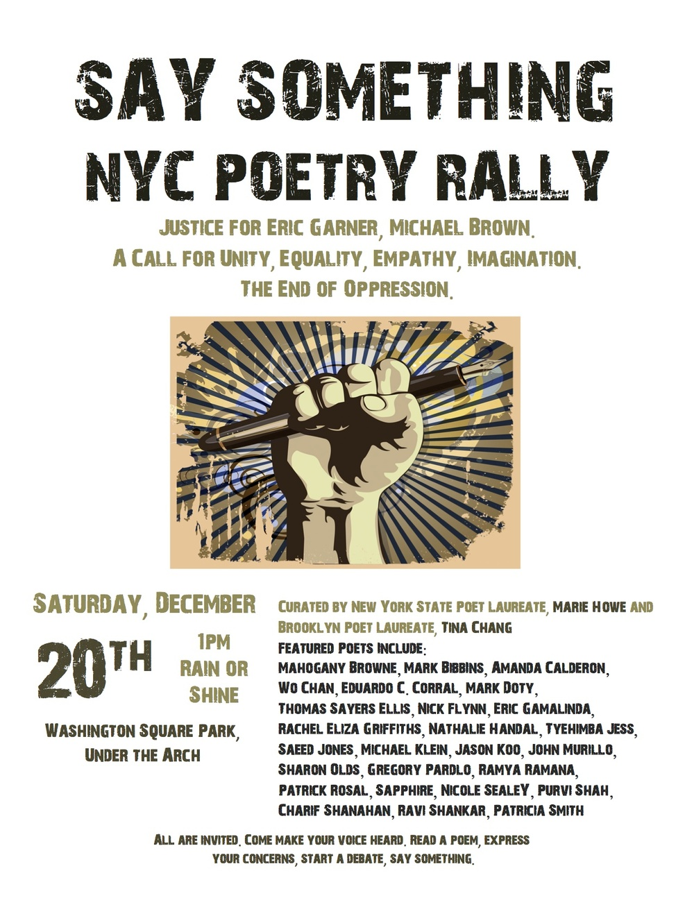 Next Saturday, Dec. 20. At Washington Square NYC