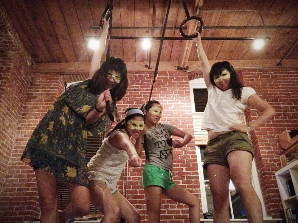 honeybadgersdontgiveabooktour: Four eye masks + more danger than you can handle. #PoetryIsDangerous L to R: Sally Wen Mao, Karissa Chen, Eugenia Leigh, Cathy Linh Che Photo credit: Patrick Rosal