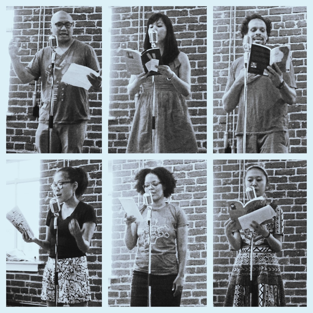 honeybadgersdontgiveabooktour: Poets, clockwise from top left: Patrick Rosal, Cathy Linh Che, Ross Gay, Sally Wen Mao, Yolanda Wisher, Eugenia Leigh // At Ayat Arts, Philly.