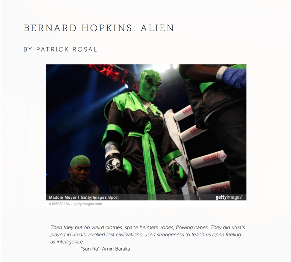 "The latest installment of  Some Call It Ballin is up!! Amazing essays from Ife-Chuden A. Oputa, Martín Espada, Sarah Kennedy, and Laura Legge. Also reviews from Dionisio Velasco and Malik Abduh. Here's a screenshot from my essay on Bernard ""The Alien"" Hopkins and the history and future of black people — of America. http://www.somecallitballin.com"