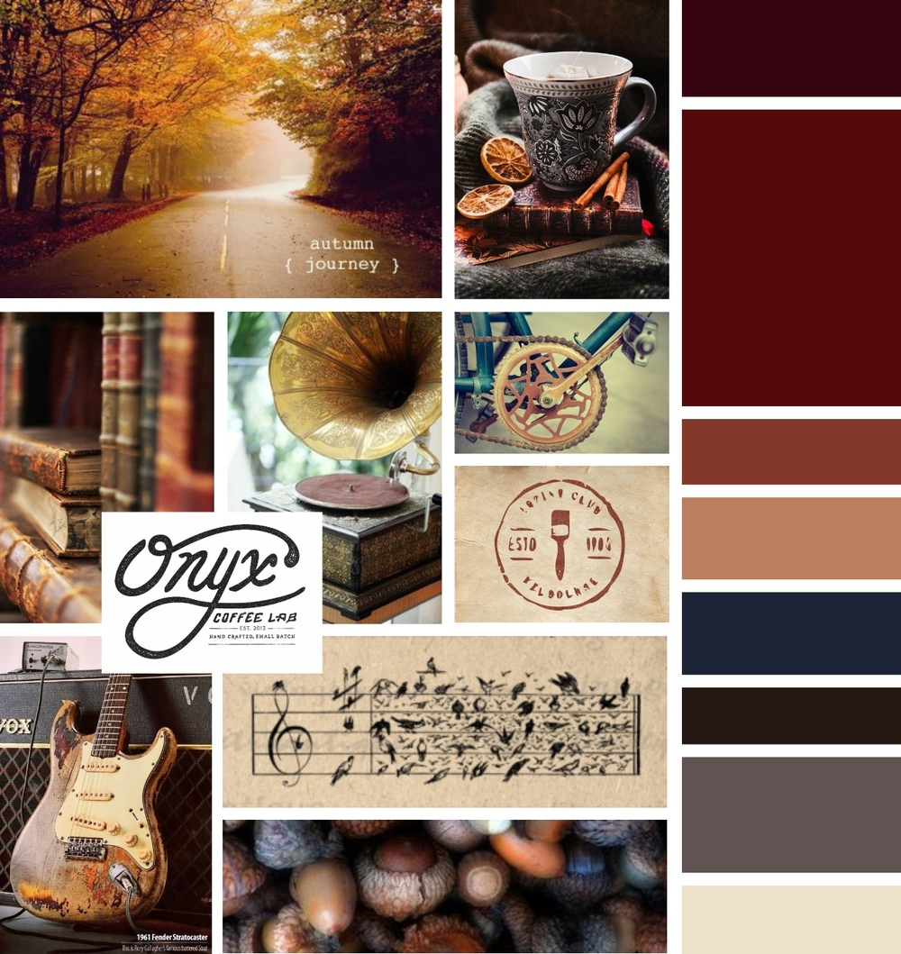 warm vintage inspired mood board for music studio Inkwell Music