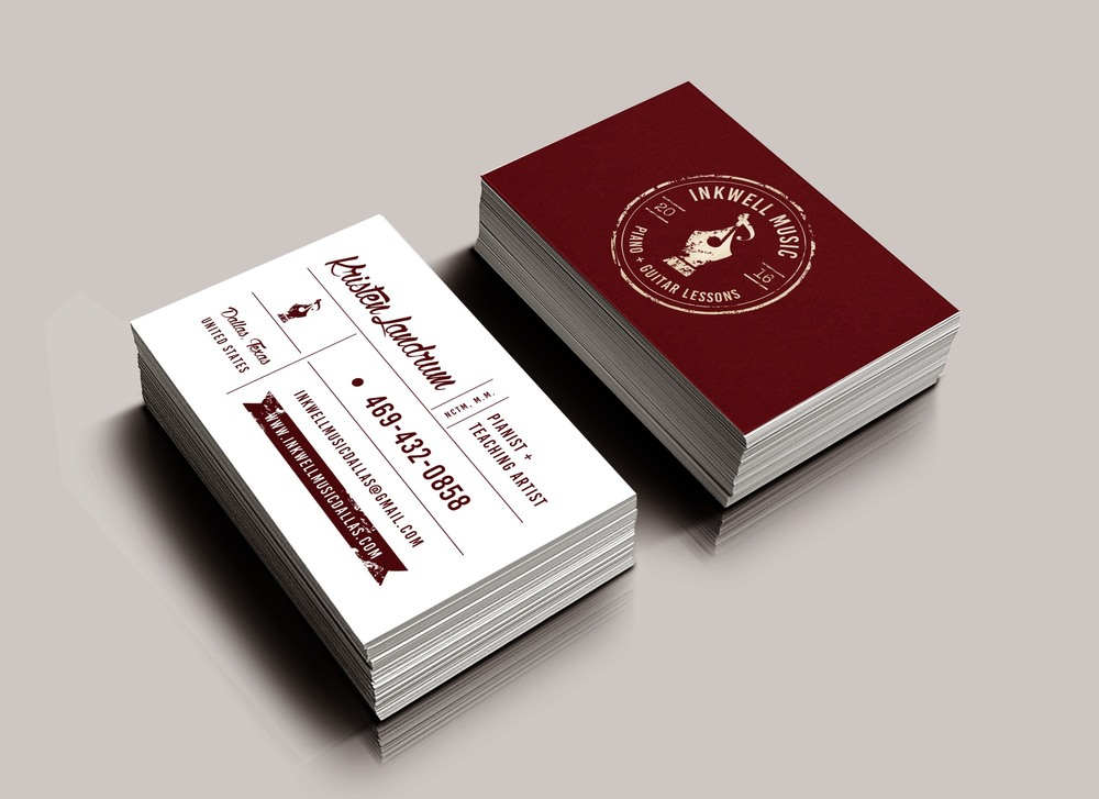 business card design vintage inkwell music