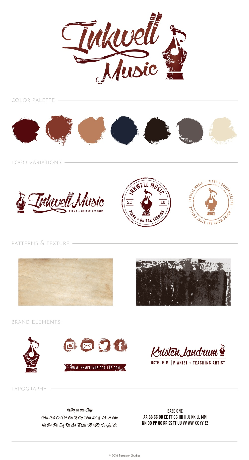 Logo design brand style guide vintage inkwell music