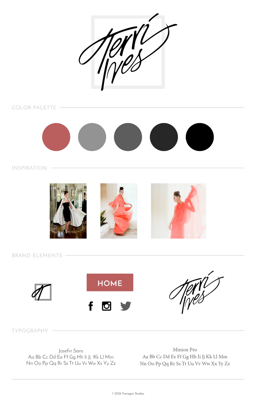 website design style guide couture fashion Terri Ives couture