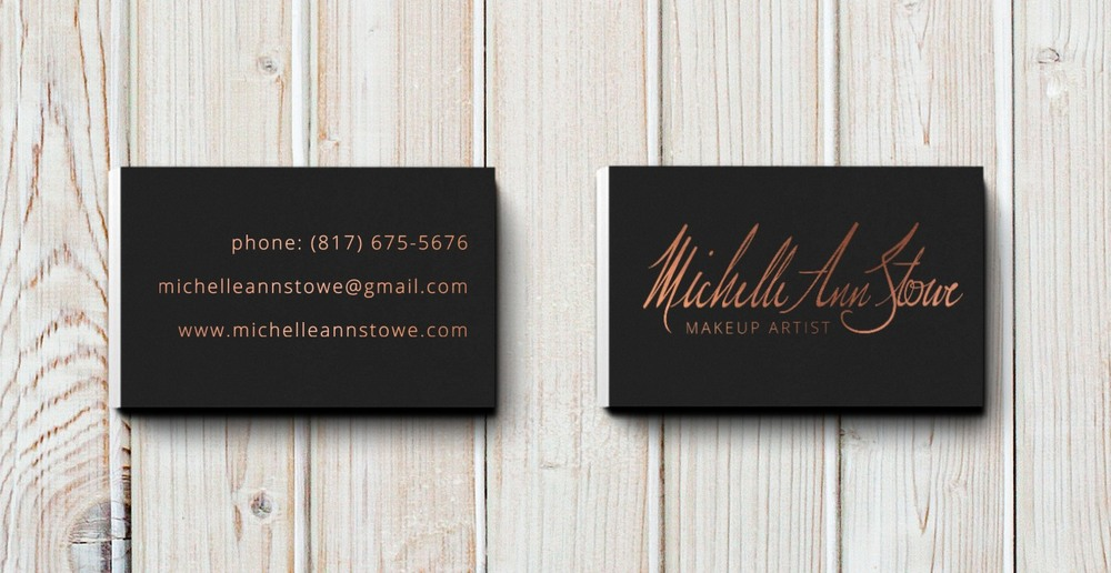 Business card design makeup artist brand michelle ann stowe