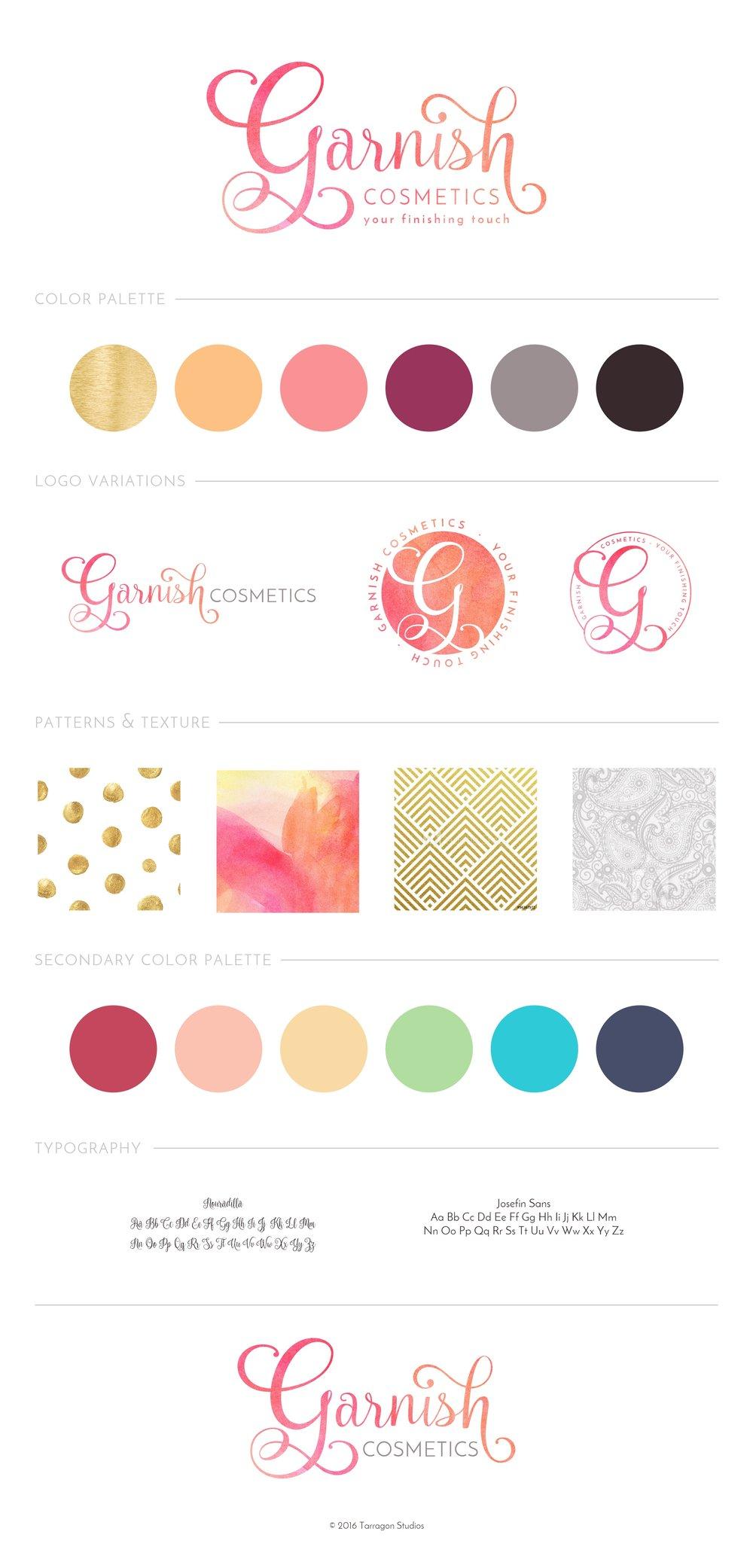 Garnish Cosmetics, LLC Brand Style Guide designed by Tarragon Studios
