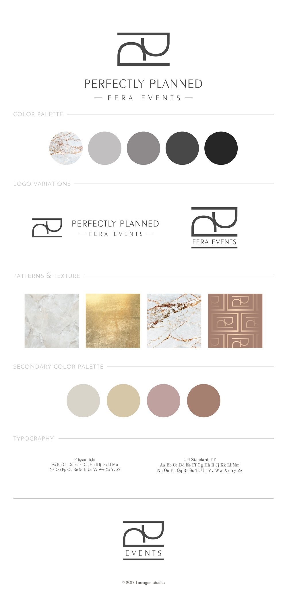 Perfectly Planned Fera Events Style Guide by Tarragon Studios