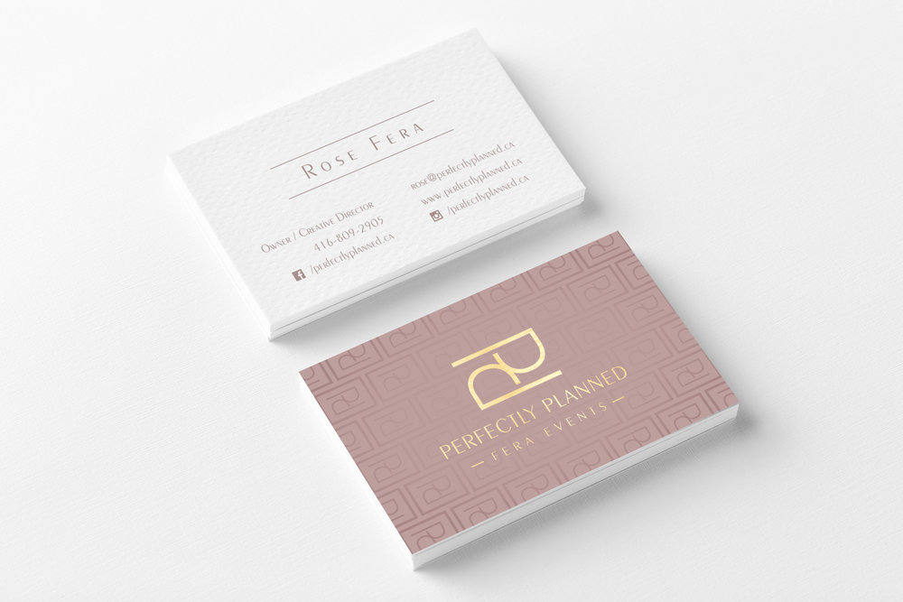 Business Cards, Logo & Brand Designed for Perfectly Planned Fera Events. Continue reading to see more of their Feminine Modern Minimalist Logo Variations! #logo #design #branding #event #businesscards #modern #feminine #minimal
