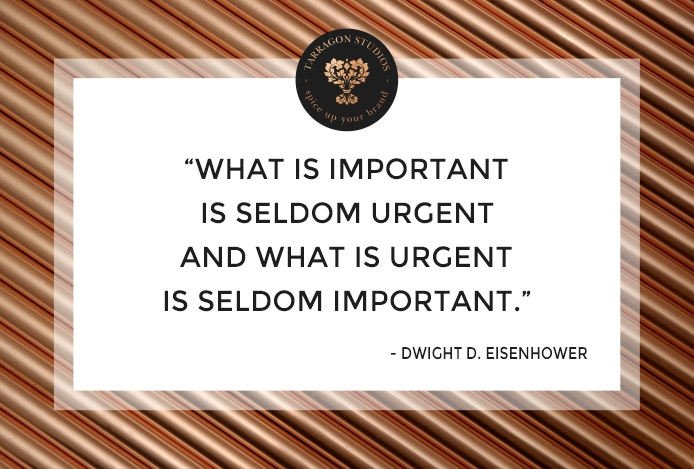 """what is important is seldom urgent and what is urgent is seldom important."" Dwight D. Eisenhower quote"