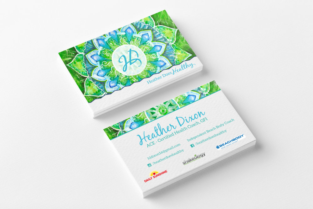 Logo and Brand design for Heather Does Healthy Health and Fitness Coach. Keep Reading to See all of her Beautiful Colorful Bright Logo Variations! #logo #design #feminine #branding