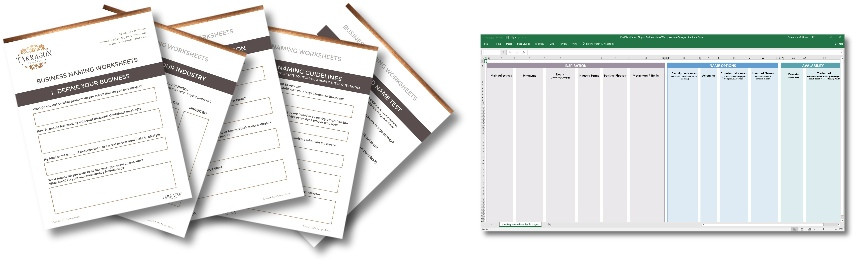 Business & Blog Naming worksheets & spreadsheet from Tarragon Studios