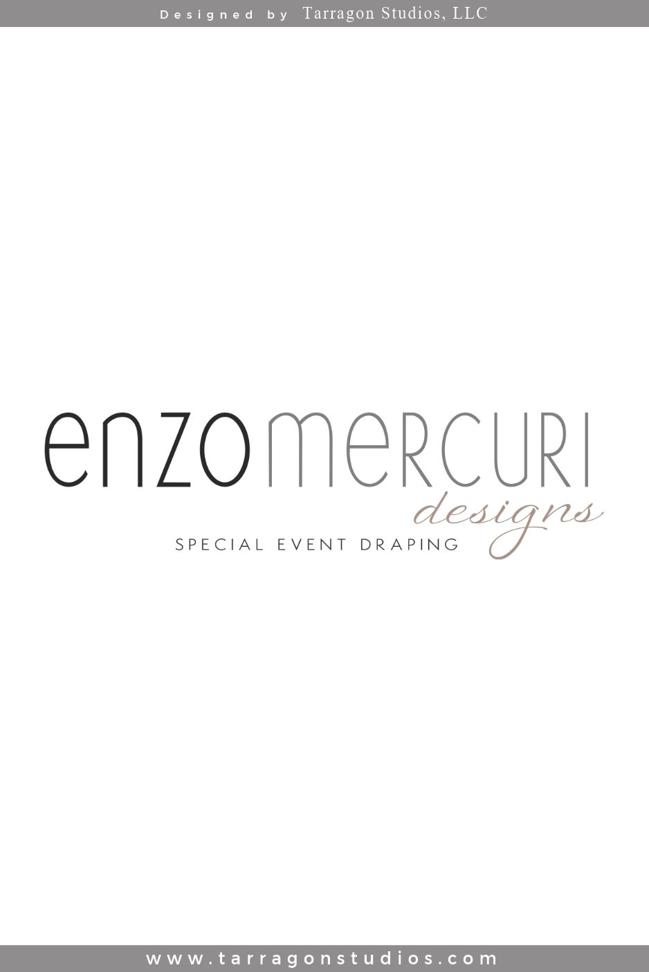 Refined, quirky, fun, chic, stylish logo and brand for Enzo Mercuri Designs, Special Event Draping by Tarragon Studios. Keep Reading to see all the unique, up-scale custom event inspired logo variations! #logo #design #chic #unique