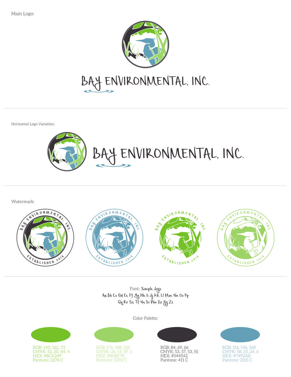 This style guide is for Bay Environmental, Inc - Brand designed by Tarragon Studios. Keep Reading to see more logo variations! #logo #design #environment #conservation