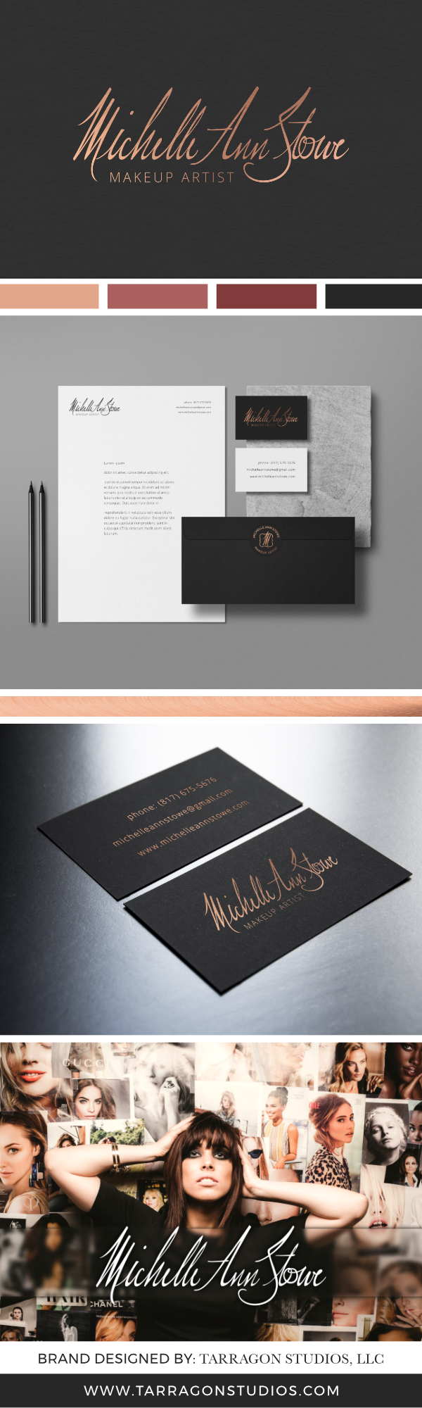Makeup Artist Brand Design. Rose Gold, Black Paper, Chic and Feminine Makeup Artist Logo and brand. #logo #branding #website #design #makeup #signature