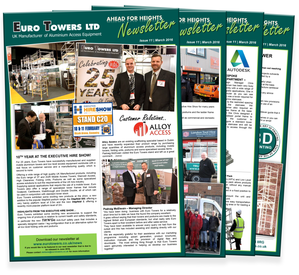 euro towers newsletter | aluminium tower suppliers | aluminium podium | executive hire show | 3D pritning |