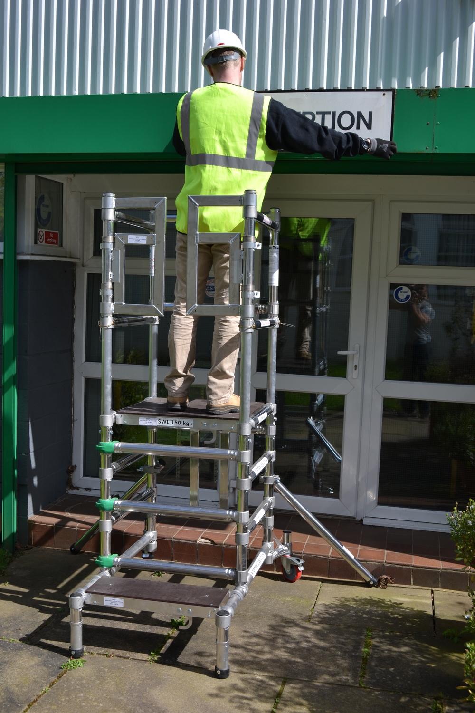 Aluminium podium | aluminium scaffolding | euro towers | stepfold podium 1 & 2