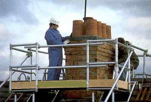 klikstak chimney scaffold, euro towers, aluminium access equipment, roof access
