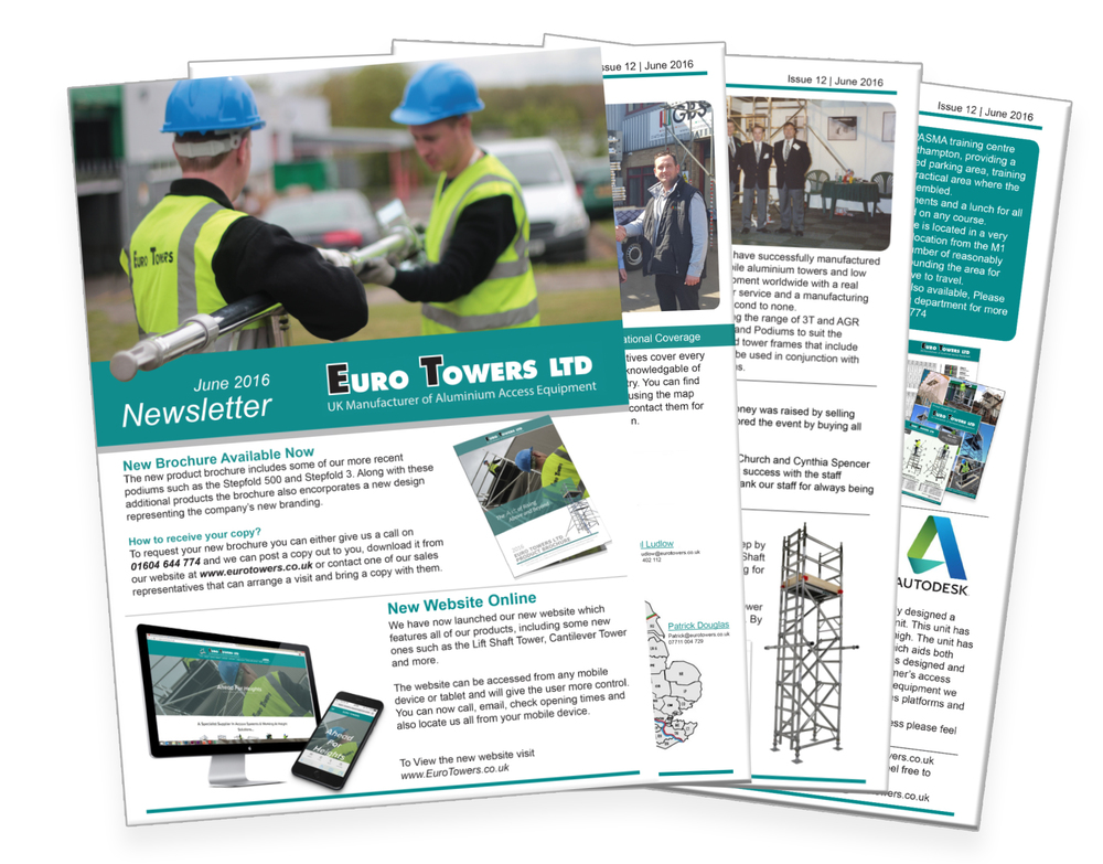 June Newsletter, euro towers, lift shaft, PASMA training, aluminium scaffolding