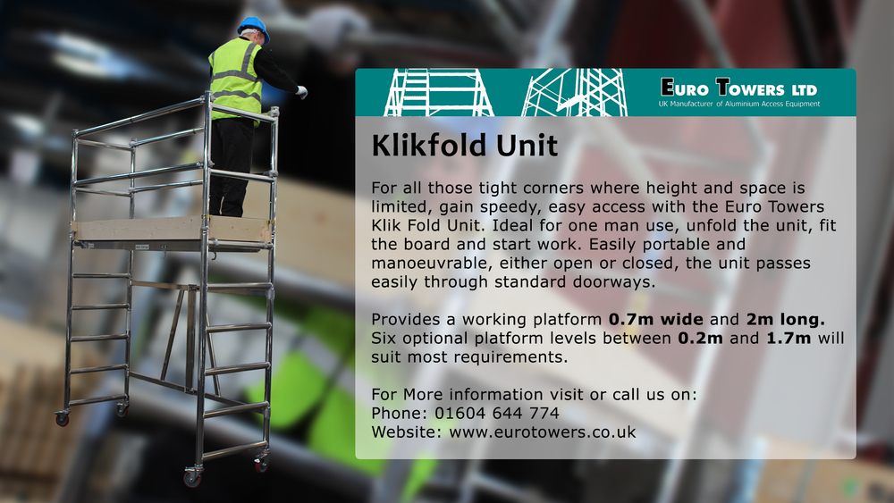 low level units, aluminium tower, klikfold, platform steps, scaffolding