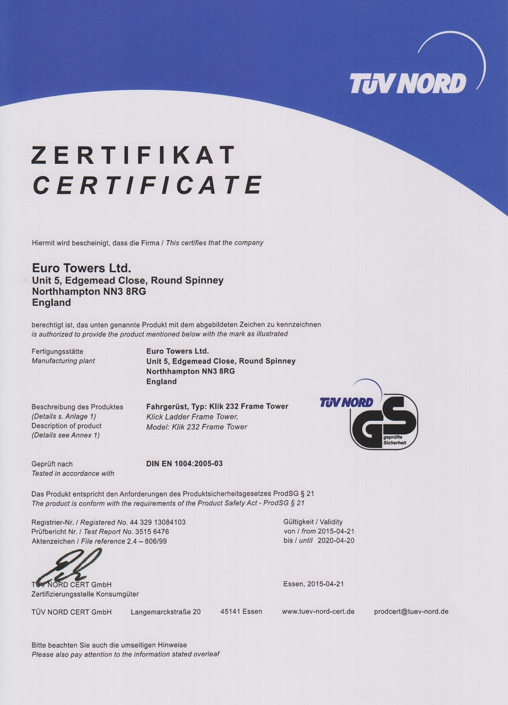 TUV 232 Tower Certification