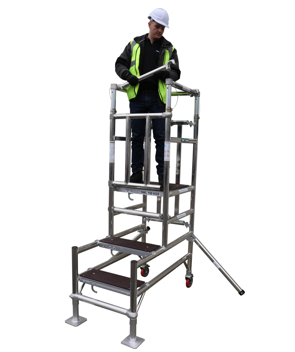 aluminium podium, stepfold podium 1, euro towers, aluminium tower, working at height, podium steps, ladder steps